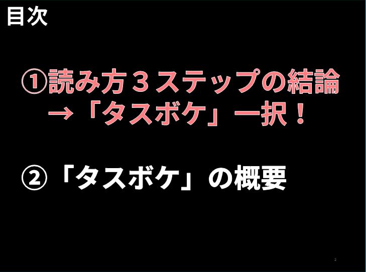 読み方 目次 ①読み方3ステップの結論  →「タスボケ」一択!