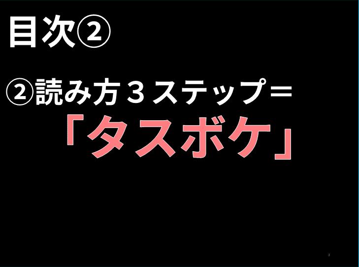 読み方 目次 ②読み方3ステップ=    「タスボケ」